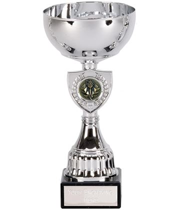 "Silver Trophy Cup with Shield Design 18.5cm (7.25"")"