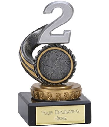 "Silver & Gold Plastic Number 2 Trophy on Marble Base 9.5cm (3.75"")"