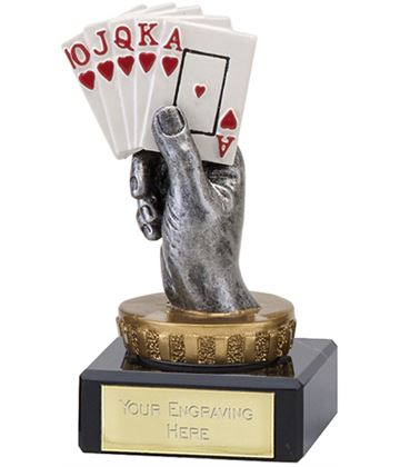 "Royal Flush Playing Cards Trophy on Marble Base 10cm (4"")"