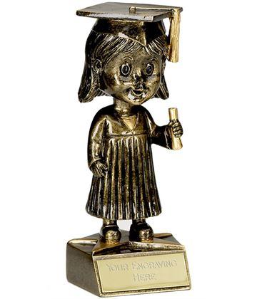 "Bobblehead Female Graduation Trophy 15cm (6"")"