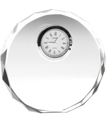 "Round Glass Clock with Patterned Edge 11cm (4.25"")"