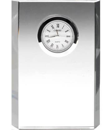 "Glass Bevelled Rectangle Clock 12cm (4.75"")"