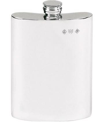 "Plain Finish 6oz Pewter Hip Flask 12cm (4.75"")"