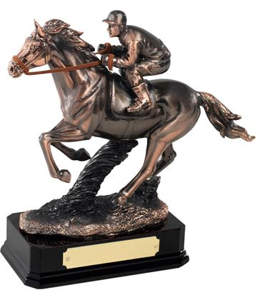 "Antique Copper Plated Horse Racing Figure 19cm (7.5"")"