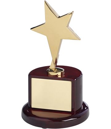 "Polished Gold Metal Star Award on Rosewood Base 18cm (7"")"