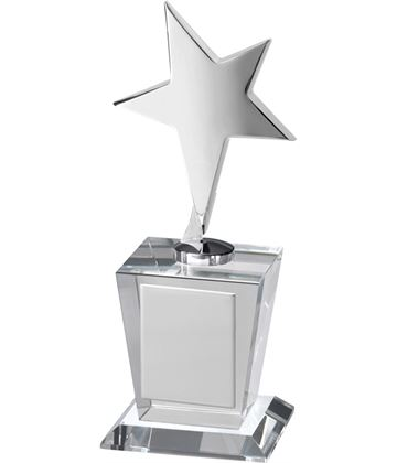 "Silver Metal Star Award on Optical Crystal Base 19cm (7.5"")"