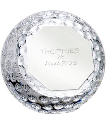 """Optical Crystal Golf Orb Paperweight 8cm (3.25"""")"""
