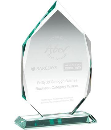 "Diamond Jade Glass Award on Base 21.5cm (8.5"")"