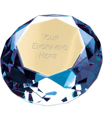 "Blue Clarity Diamond Paperweight Award 6.5cm (2.25"")"