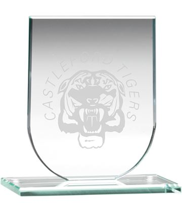"Jade Glass Shield Plaque 11cm (4.25"")"