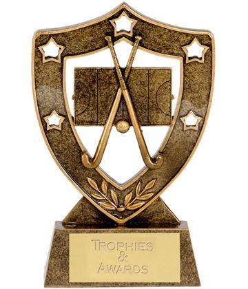 "Antique Gold Field Hockey Shield 12.5cm (5"")"