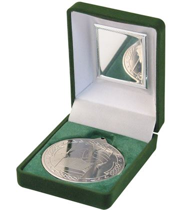 "Silver Gaelic Football Medal 50mm (2"") in Green Velvet Box"