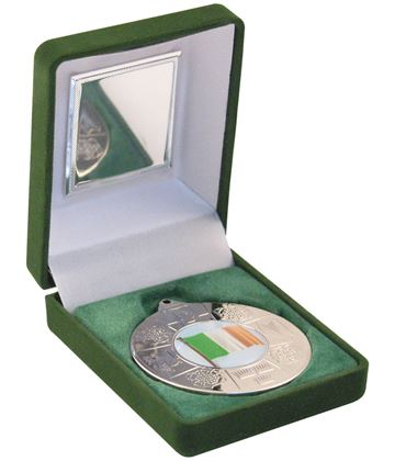"Silver Four Provinces Medal 50mm (2"") in Green Velvet Box"