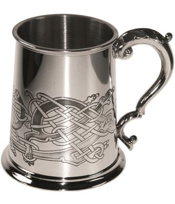 "Celtic Bird Patterned 1pt Sheffield Pewter Tankard 11.5cm (4.5"")"