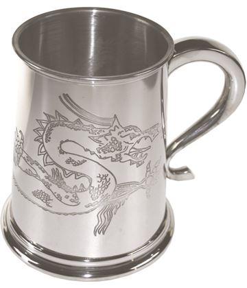 "1pt Chinese Dragon Embossed Sheffield Pewter Tankard 11.5cm (4.5"")"