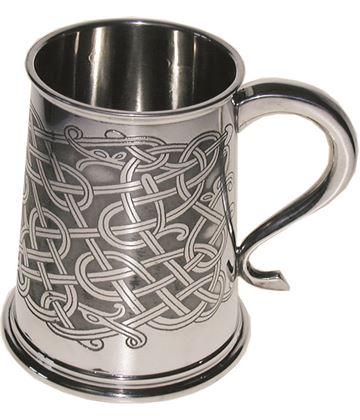 "Traditional Celtic Patterned 1pt Sheffield Pewter Tankard 11.5cm (4.5"")"