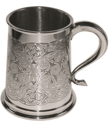 "Celtic Spiral Patterned 1pt Sheffield Pewter Tankard 11.5cm (4.5"")"