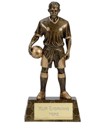 "Antique Gold Trimmed Resin Football Player Trophy 18.5cm (7.25"")"