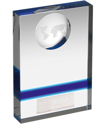 "Blue & Clear Crystal Globe Plaque Award 16cm (6.25"")"