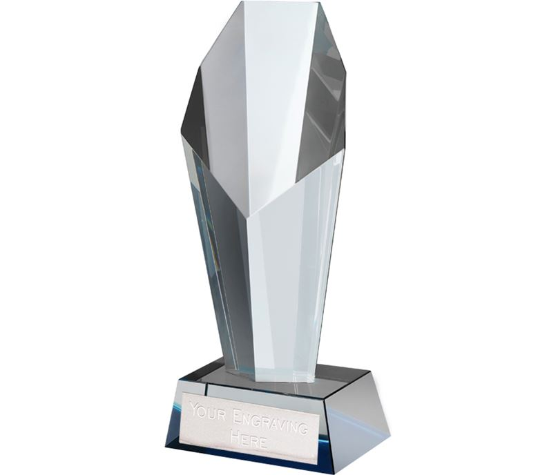 "Blue & Clear Crystal Towering Obelisk Award 18.5cm (7.25"")"
