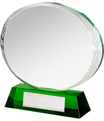 "Green & Clear Optical Crystal Oval Award 12cm (4.75"")"