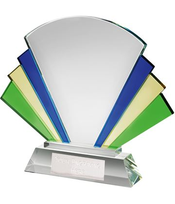 "Multi Coloured Optical Crystal Fan Award 17cm (6.75"")"