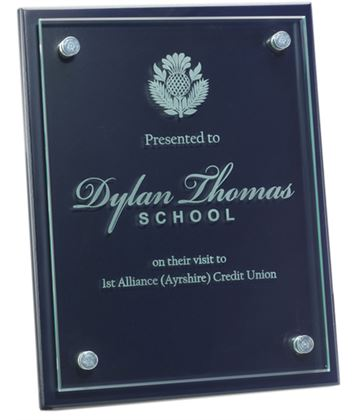 "Glass Front Blue Wood Presentation Plaque 18cm x 23cm (7"" x 9"")"