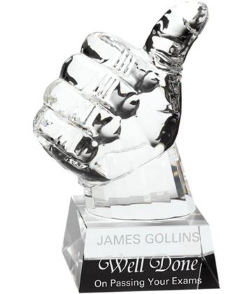 "Heavyweight Glass Thumbs Up Award 14cm (5.5"")"