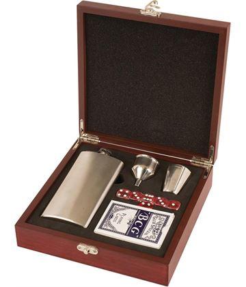 "Rosewood Finish Hip Flask Set 21cm (8.25"")"