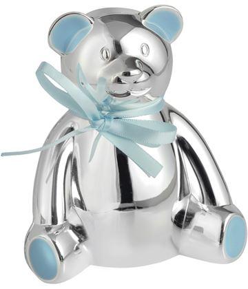 "Silver Plated Teddy Bear Money Box with Blue Bow 10cm (4"")"