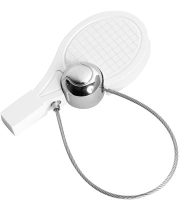 "White Satin Finish Tennis Racquet & Ball Keyring 5cm (2"")"