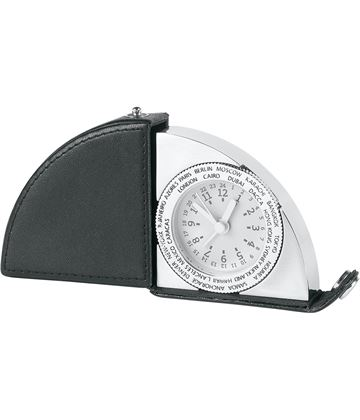 "Travel Alarm Clock with Leather Holder 5.5cm (2.25"")"
