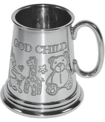 "1/4pt God Child Sheffield Pewter Tankard 7.5cm (3"")"