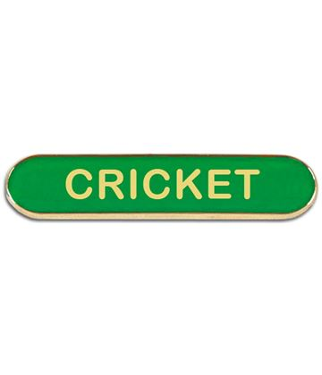 Green Cricket Lapel Bar Badge 40mm x 8mm