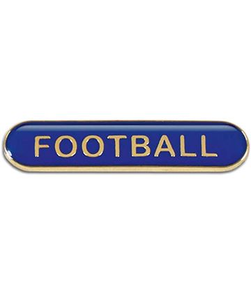 Blue Football Lapel Bar Badge 40mm x 8mm