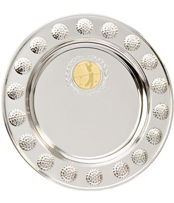 "Golf Ball Pattern Surround Silver Salver 20cm (8"")"
