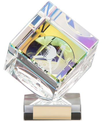 "Clear Crystal 3D Cube Golf Award 11cm (4.25"")"