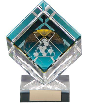 "Clear Crystal Cube Pool Glass Award 10.5cm (4"")"