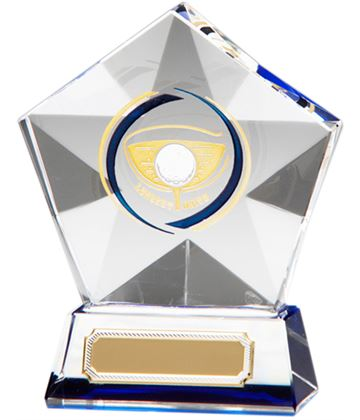 "Clear Diamond Star Longest Drive Glass Golf Award 9.5cm (3.75"")"