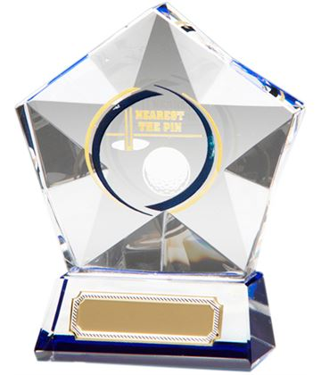"Clear Diamond Star Nearest The Pin Glass Golf Award 9.5cm (3.75"")"