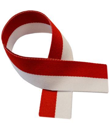 """Red & White Medal Ribbon 76cm (30"""")"""