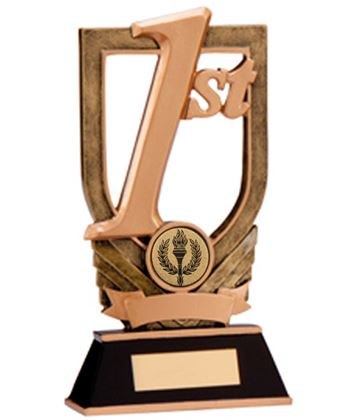 """Gold Resin 1st Place Plaque Award 18cm (7"""")"""