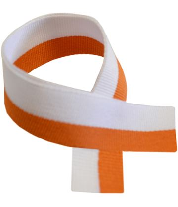 "Orange & White Medal Ribbon 76cm (30"")"