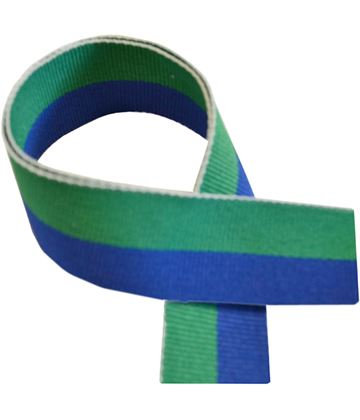 "Green & Blue Medal Ribbon 76cm (30"")"