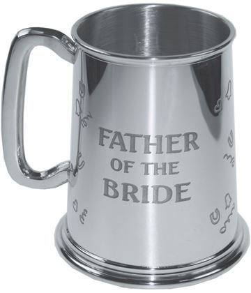 """Polished Father Of The Bride 1pt Sheffield Pewter Tankard 11.5cm (4.5"""")"""