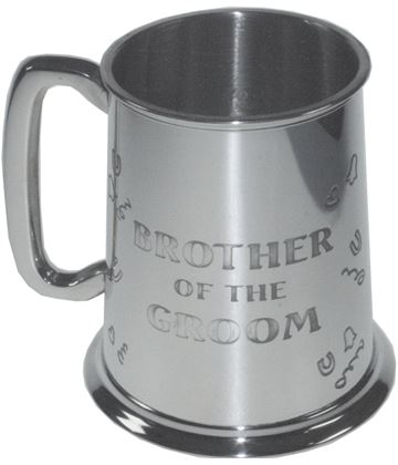 "Polished Brother Of The Groom 1pt Sheffield Pewter Tankard 11.5cm (4.5"")"