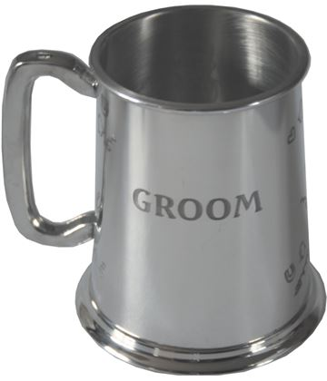 "Polished Groom 1pt Sheffield Pewter Tankard 11.5cm (4.5"")"