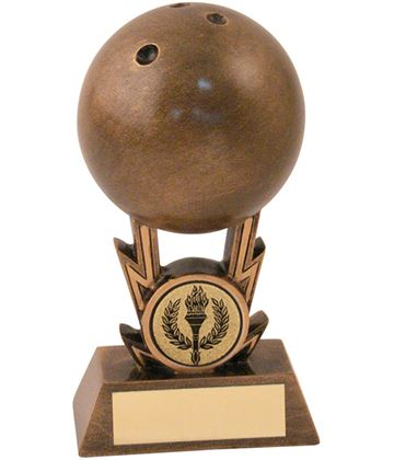 "Antique Gold Resin 3D Ten Pin Bowling Trophy 12.5cm (5"")"