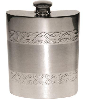 """6oz Celtic Band Embossed Sheffield Pewter Hip Flask 11cm (4.25"""")"""