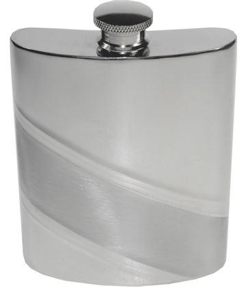 "6oz Diagonal Stripe Embossed Sheffield Pewter Hip Flask 11cm (4.25"")"